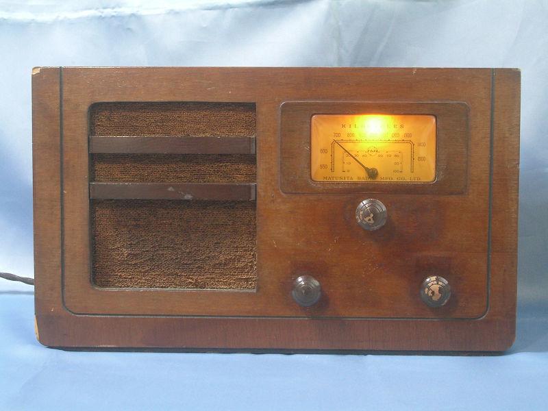 ナショナル(松下無線株式会社製)国民5号型 並四(高一グリッド再生検波)ラジオ 修復済み動作品
