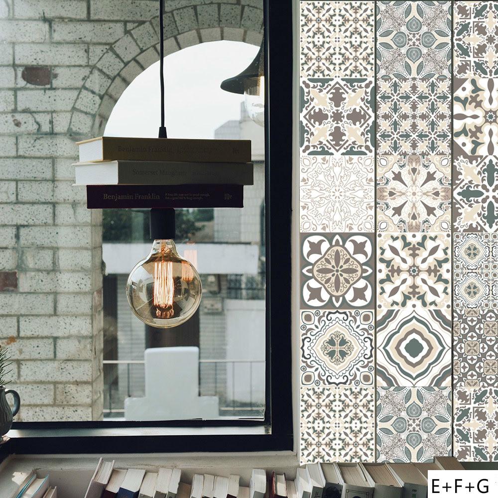 グレー モロッコスタイル リビングルーム 防水 壁紙 DIY タイルステッカー ベッドルーム キッチン セラミックタイル 壁 寝室 インテリア_画像2
