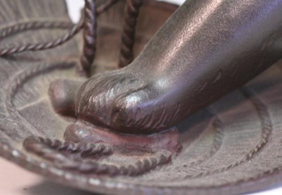 *華**【即決】銅造/犬に笠置物(金工金属工芸明治時代骨董古美術和犬H845_画像9