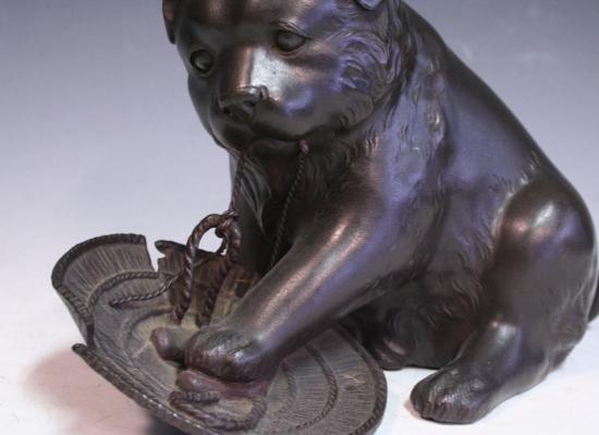 *華**【即決】銅造/犬に笠置物(金工金属工芸明治時代骨董古美術和犬H845_画像2