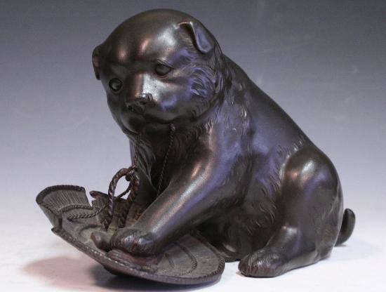*華**【即決】銅造/犬に笠置物(金工金属工芸明治時代骨董古美術和犬H845_画像1
