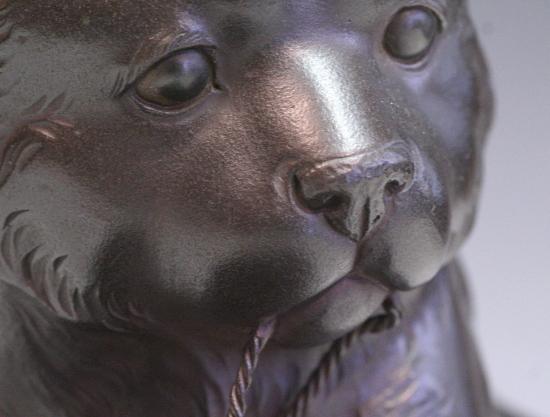 *華**【即決】銅造/犬に笠置物(金工金属工芸明治時代骨董古美術和犬H845_画像8
