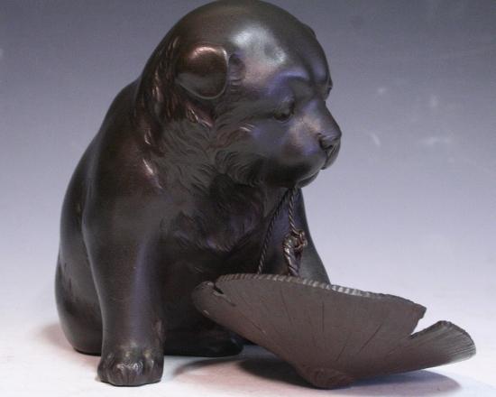 *華**【即決】銅造/犬に笠置物(金工金属工芸明治時代骨董古美術和犬H845_画像4