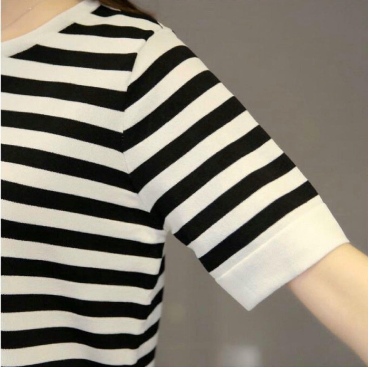 カットソー ボーダー柄 半袖 チュニック  学院スタイルTシャツ 韓国 X XL