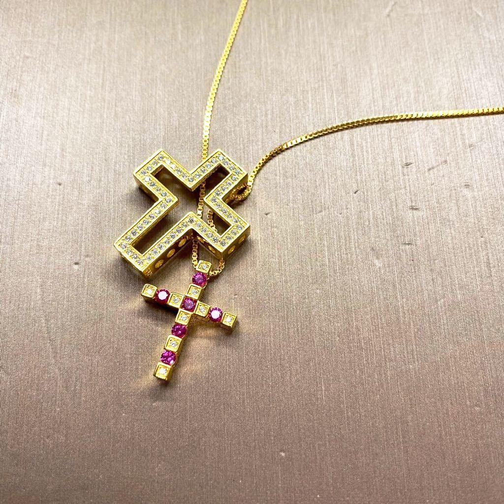 [最高品質]1.26ct クロス ネックレス 18金 18kgp sv925 シルバー925 チェーン 5Acz ダイヤモンド ダミアーニではありません!_画像2