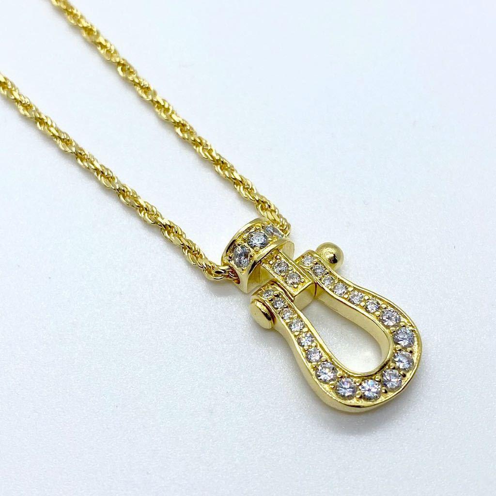 [最高品質] フォース ネックレス 18金 ゴールド 18kgp sv925 シルバー925 馬の蹄 5Acz ダイヤモンド 幸運 フレッドではありません_画像4