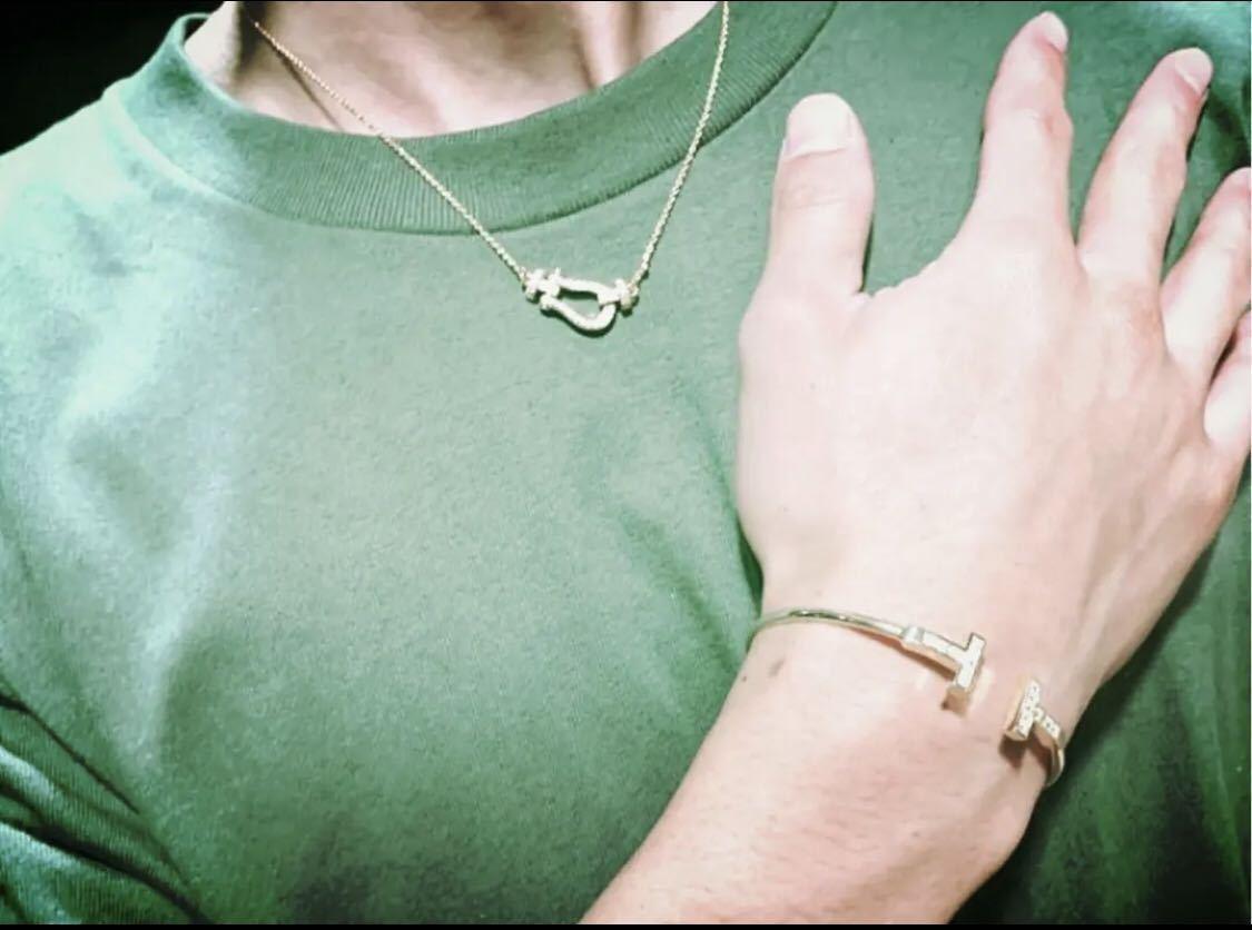 [最高品質] フォース ネックレス ホワイトゴールド 18金 18kgp sv925 シルバー925 馬の蹄 5Acz ダイヤモンド フレッドではありません☆_画像4