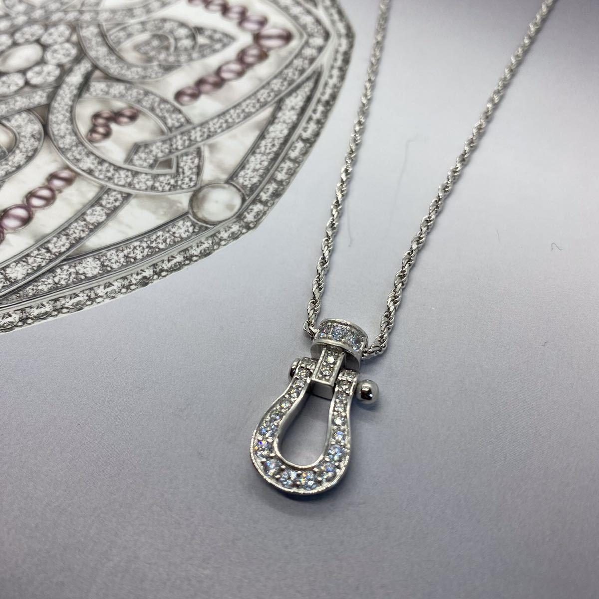 [最高品質] フォース ネックレス 18金 18kgp sv925 シルバー925 馬の蹄 5Acz ダイヤモンド 幸運 フレッドではありません_画像2