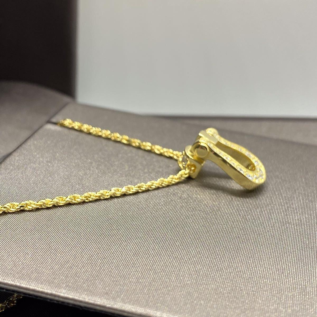 [最高品質] フォース ネックレス 18金 ゴールド 18kgp sv925 シルバー925 馬の蹄 5Acz ダイヤモンド 幸運 フレッドではありません_画像3