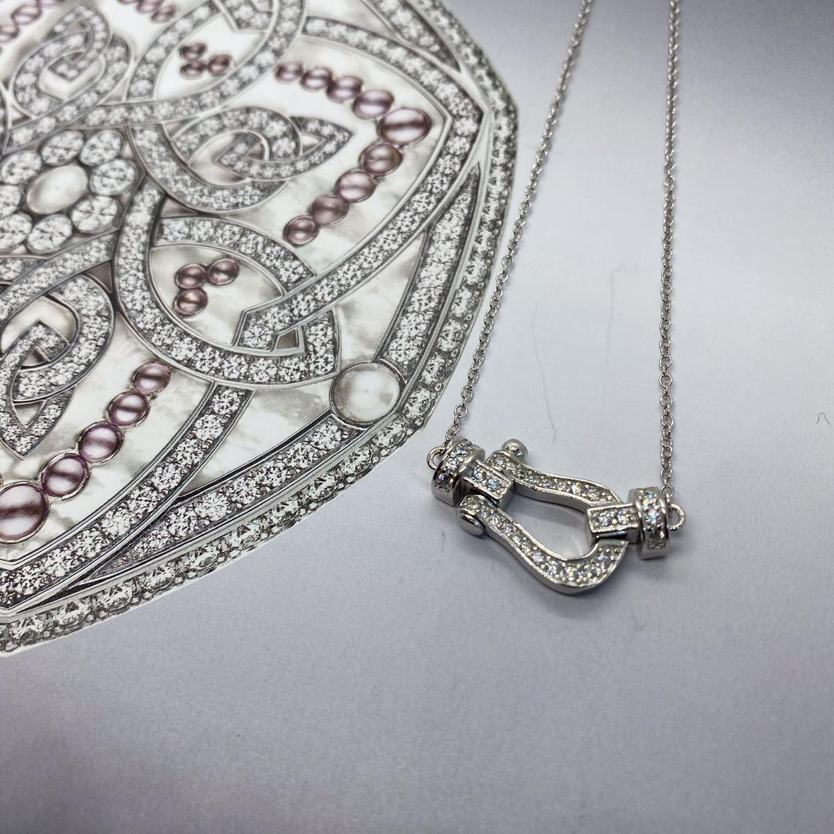 [最高品質] フォース ネックレス ホワイトゴールド 18金 18kgp sv925 シルバー925 馬の蹄 5Acz ダイヤモンド フレッドではありません☆_画像3