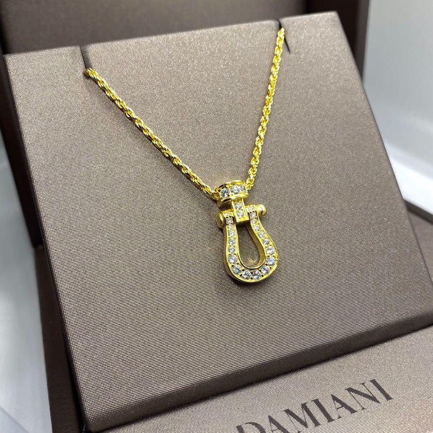 [最高品質] フォース ネックレス 18金 ゴールド 18kgp sv925 シルバー925 馬の蹄 5Acz ダイヤモンド 幸運 フレッドではありません_画像1