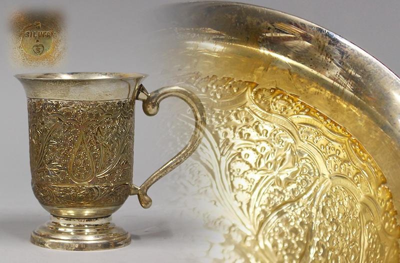 銀製 SILVER 刻印 彫金 カップ コップ 約368g 初荷 骨董 古玩 古美術品 古道具