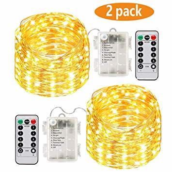 銅線ウォームホワイト LED イルミネーションライト 2パックLEDストリングスライト 100球 10m 8種光るパターン 電池_画像1