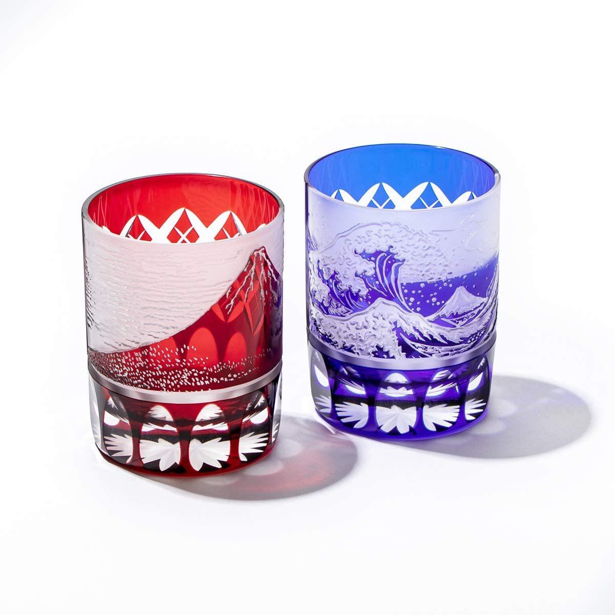 新品 江戸切子 赤富士 波富士 矢来紋 オールドグラス ペア 赤 ルリ 木箱入り 日本製 冷酒杯 ペアグラス