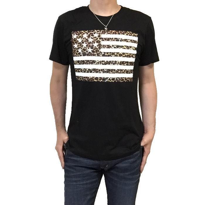 【卸売り】2枚セット メーカー希望小売価格¥3,190 新品 レオパード ヒョウ柄 星条旗 Tシャツ Lサイズ アメカジ ビター系_画像4