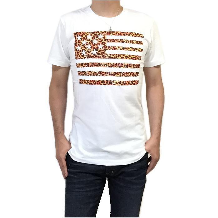 【卸売り】2枚セット メーカー希望小売価格¥3,190 新品 レオパード ヒョウ柄 星条旗 Tシャツ Lサイズ アメカジ ビター系_画像3