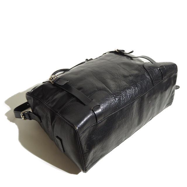 E8677P ▼JIL SANDER ジルサンダー▼ ショルダー付き レザー ボストンバッグ ブラック / レザーバッグ 黒 メンズ rb_画像4