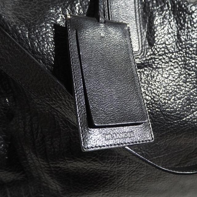 E8677P ▼JIL SANDER ジルサンダー▼ ショルダー付き レザー ボストンバッグ ブラック / レザーバッグ 黒 メンズ rb_画像3