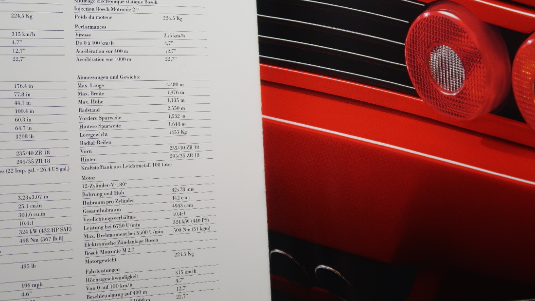 絶版 輸入車カタログ Ferrari F512M/フェラーリ F512M/4,943cc/440PS/1994-1995年モデル(1994年頃発行 テスタロッサ 512TR)_画像4