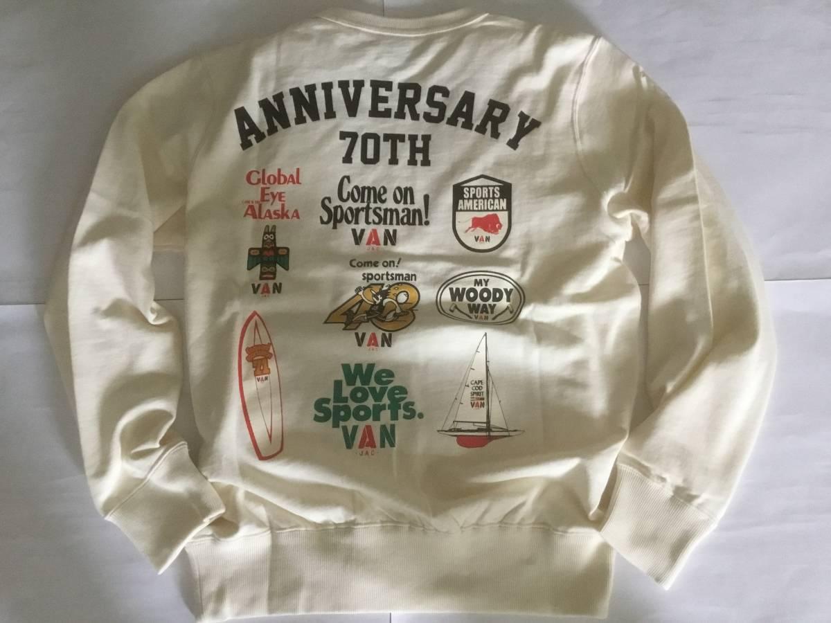 送料無料 デッドストック VAN JAC ヴァンヂャケット 70th ANNIVERSARY プレミアムトレーナー 旧VAN JACKET時代の懐かしのキャンペーンロゴ_画像2
