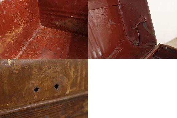 US ビンテージ アイアン製 トランク 宝箱 収納 ボックス 鉄 ツールボックス アメリカ アンティーク/工具ガレージガーデニング/JAT28140_画像10