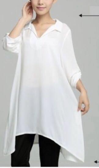 ブラウス シャツ シフォン チュニック ホワイト Lサイズ 205134