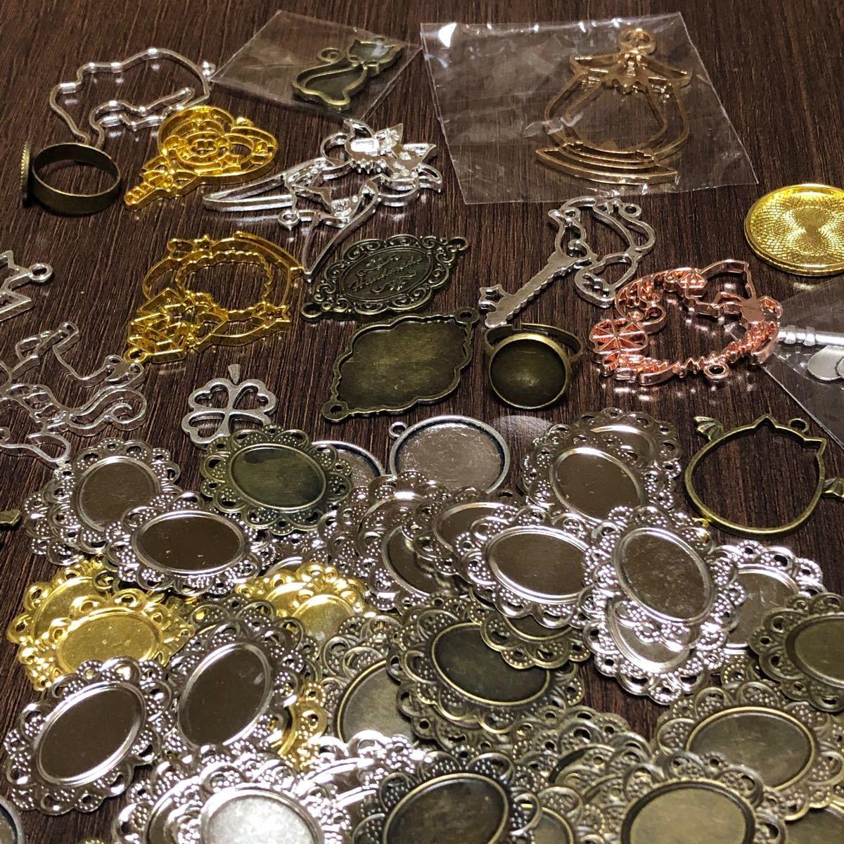 手芸用品 レジンパーツ ミール皿 & フレーム 100個セット ハンドメイド商品