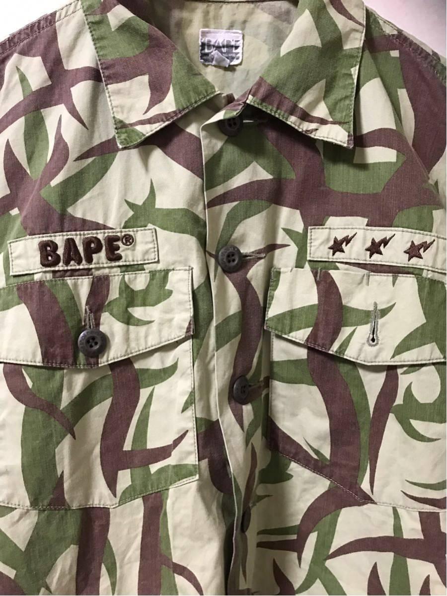 A BATHING APE エイプ トライバル カモ 迷彩 半袖 シャツ size M ワッペン NIGO BAPE スター ジェネラル 緑 柄 半袖シャツ ベイプ_画像5