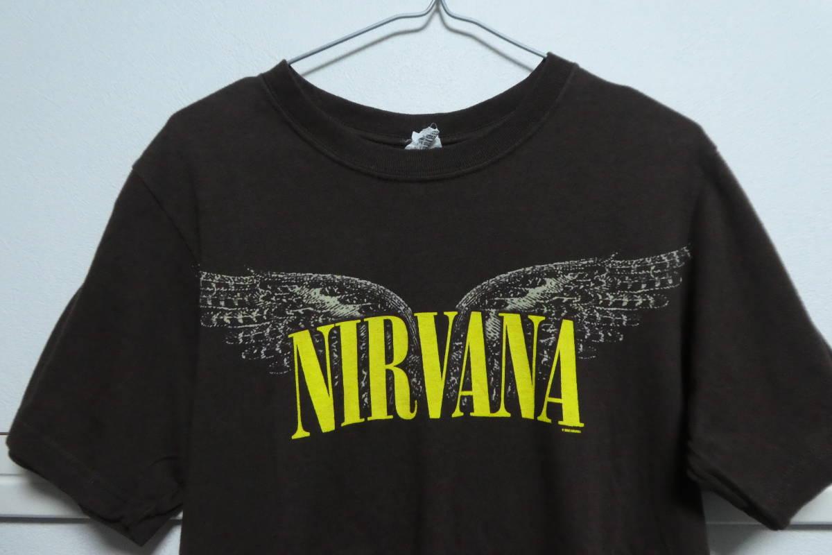 00s ニルヴァーナ NIRVANA ヴィンテージバンドTシャツ S ブラウン カートコバーンソニックユーススマッシングパンプキンズ_画像3