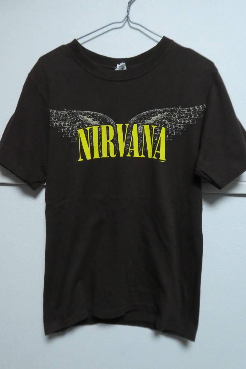 00s ニルヴァーナ NIRVANA ヴィンテージバンドTシャツ S ブラウン カートコバーンソニックユーススマッシングパンプキンズ_画像1