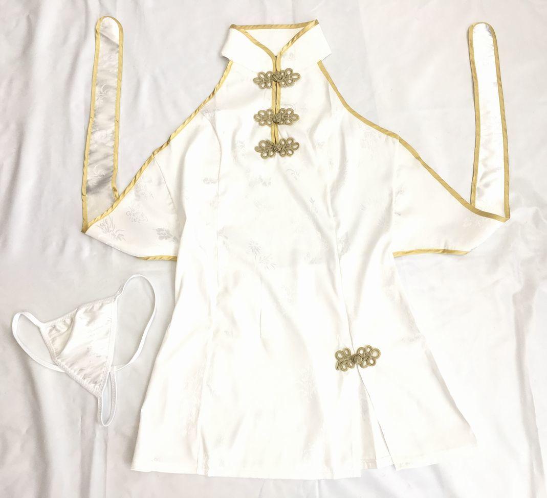送料無料bb6ミニチャイナドレスコスチューム 背中はパックリ開き 体のラインを綺麗かつセクシーに魅せて着痩効果抜群チャイナ コスプレ衣装_画像8