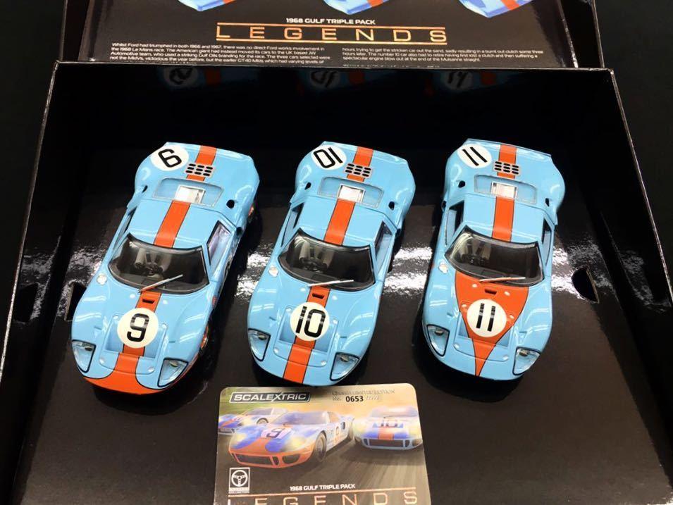 Scalextric スケーレックストリック 1/32 スロットカー ◆フォード GT40 ガルフ ルマン1968・トリプルパック 限定BOX C3896A★送料無料!★