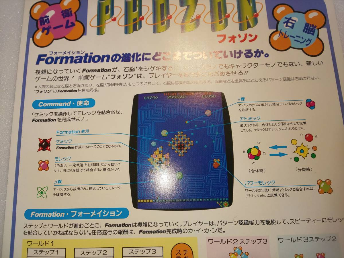 NAMCO ナムコ 1983年 右脳を刺激する前衛アーケードゲーム「フォゾン PHOZON」 未使用カタログ 送料無料です マッピー リブルラブル_画像3