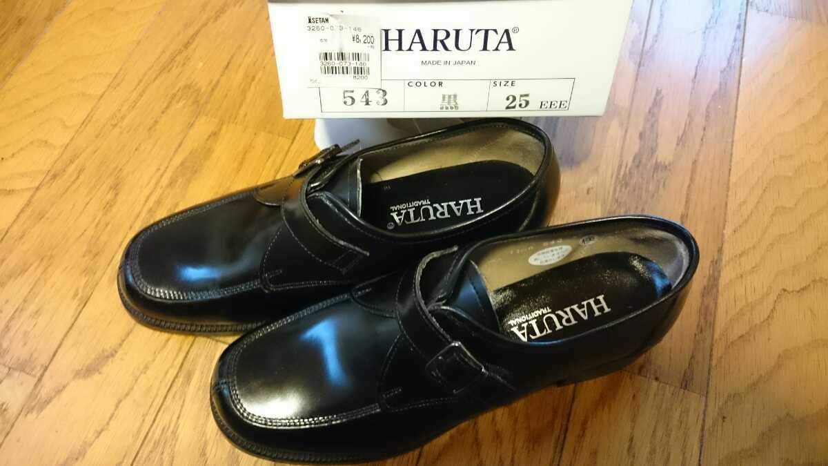 HARUTA ハルタ 新品 ローファー 革靴 本革 黒 25cm EEE ヒール高約3cm 543 日本製 MadeinJapan バックル付百貨店購入 通勤通学に 男女兼用_白い箱付き