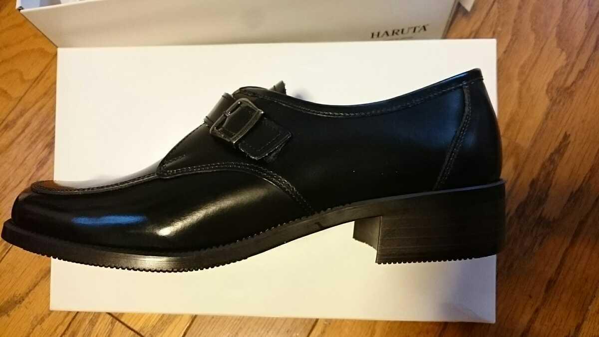 HARUTA ハルタ 新品 ローファー 革靴 本革 黒 25cm EEE ヒール高約3cm 543 日本製 MadeinJapan バックル付百貨店購入 通勤通学に 男女兼用_かかと側内側に試着の際の細かい擦り傷有