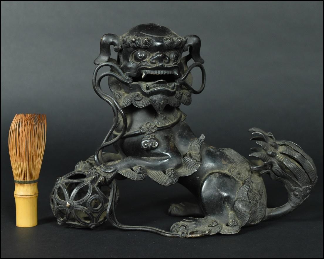 時代物 古銅 銅製 玉獅子香炉 置物 香道具 ML0510-1
