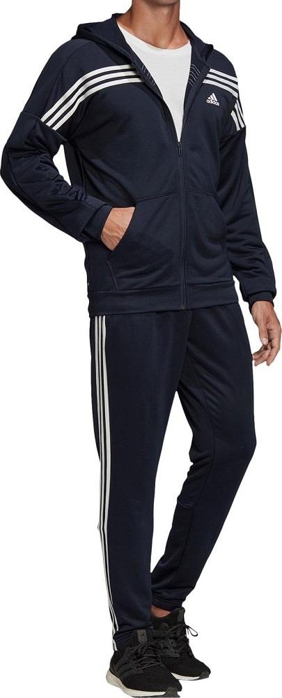 アディダス メンズ アーバントラックスーツ Sサイズ ネイビー/ホワイト 紺 フルジップフーディー&パンツ ジャージ上下セット セットアップ_画像1