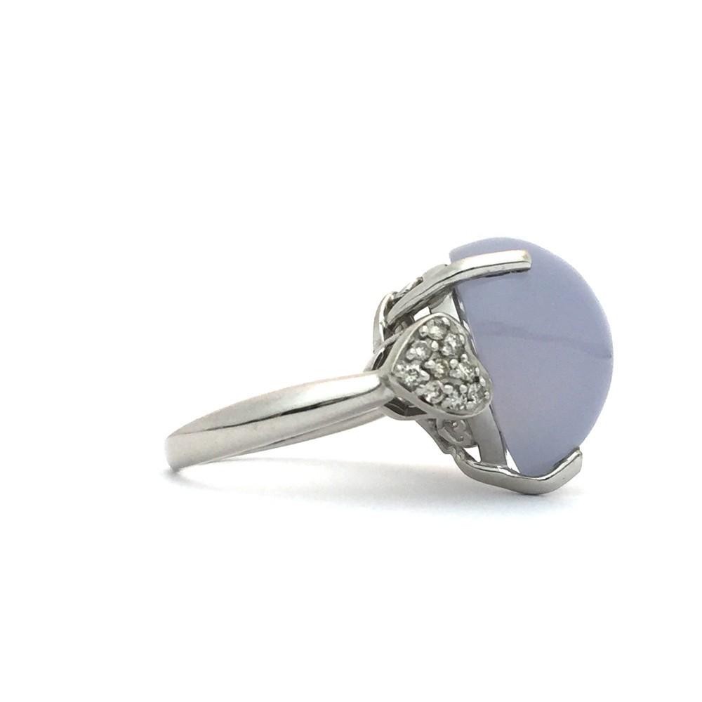 【中古美品】K18WG ブルー・カルセドニー ダイヤ ファッションリング 指輪 BK12.83ct D0.16ct 10号_画像3