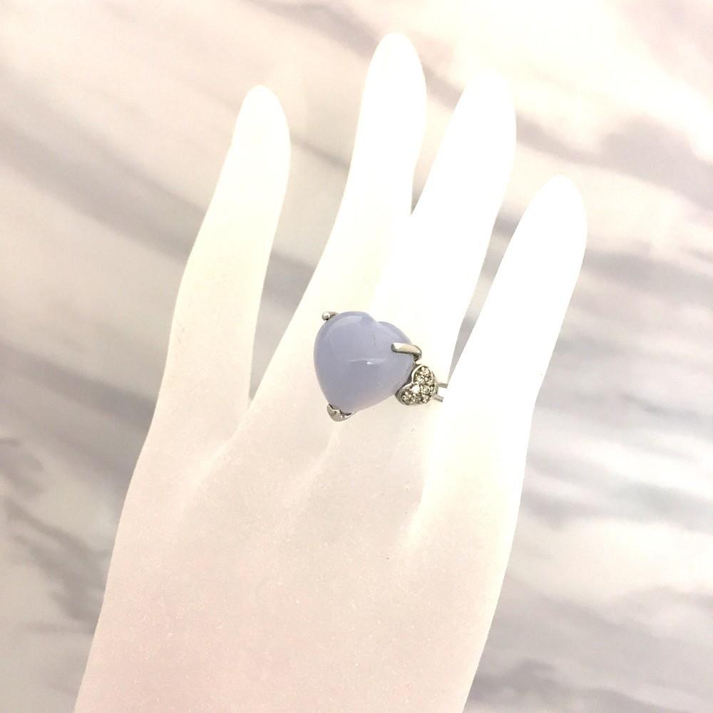 【中古美品】K18WG ブルー・カルセドニー ダイヤ ファッションリング 指輪 BK12.83ct D0.16ct 10号_画像8