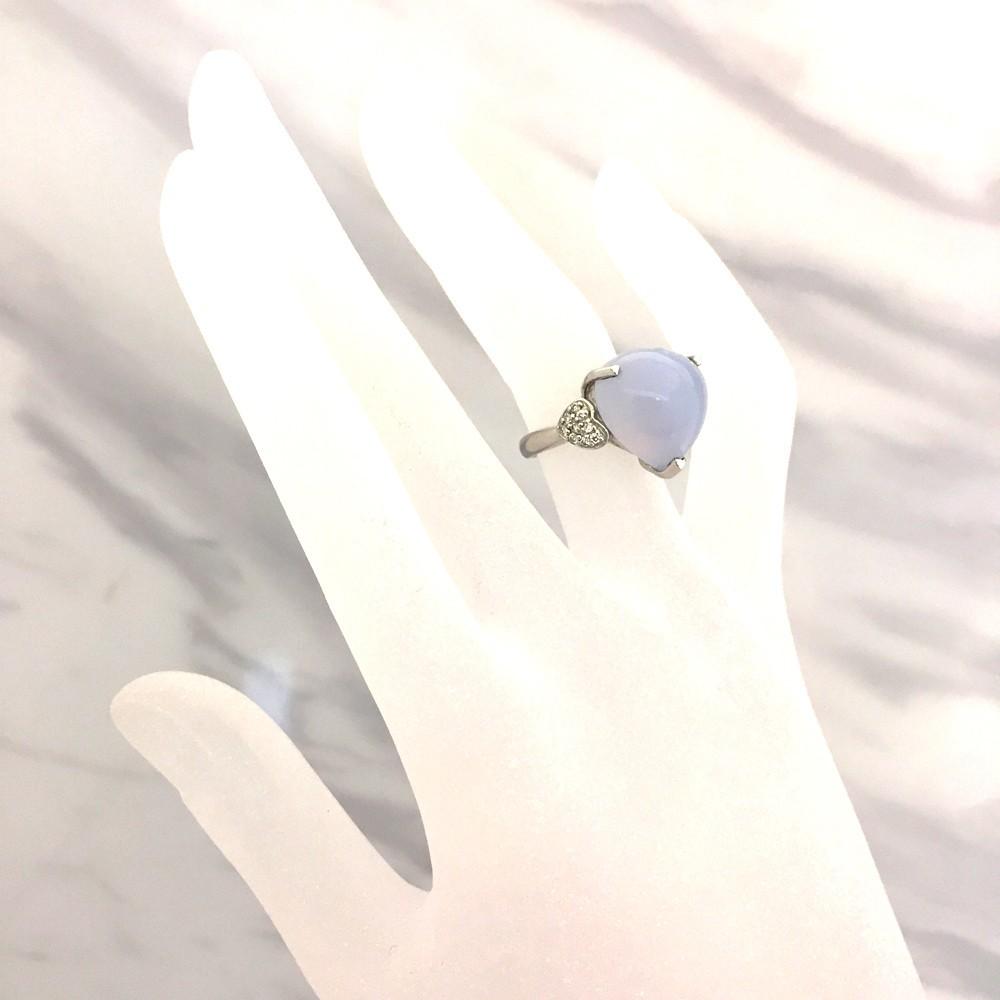 【中古美品】K18WG ブルー・カルセドニー ダイヤ ファッションリング 指輪 BK12.83ct D0.16ct 10号_画像7