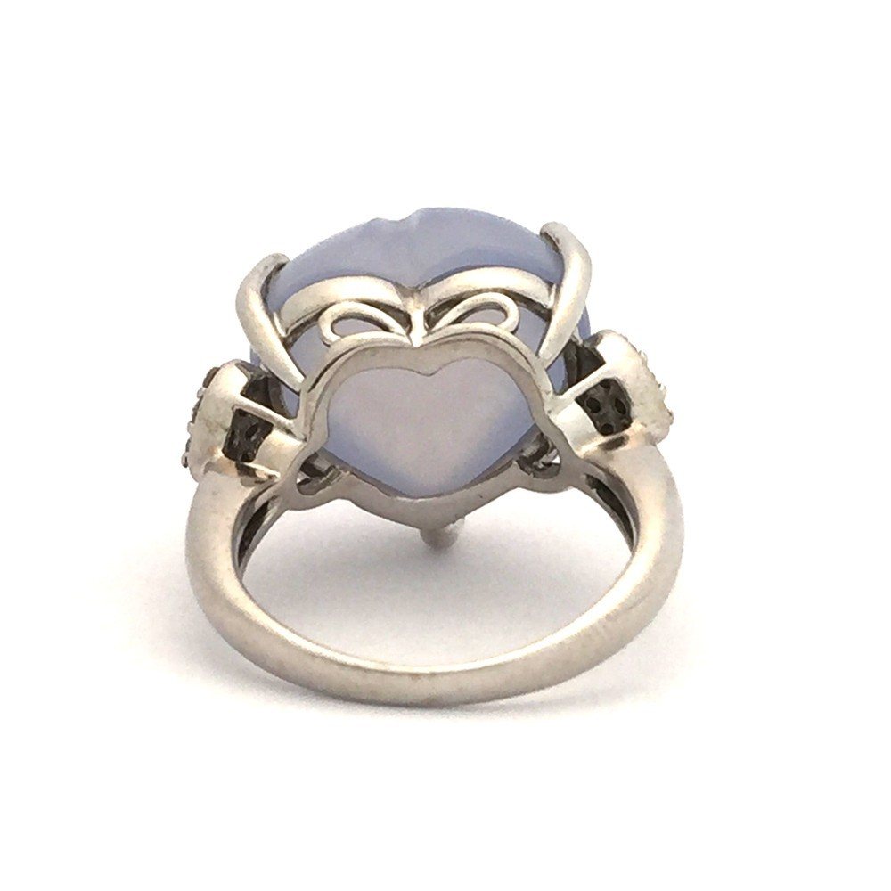 【中古美品】K18WG ブルー・カルセドニー ダイヤ ファッションリング 指輪 BK12.83ct D0.16ct 10号_画像4
