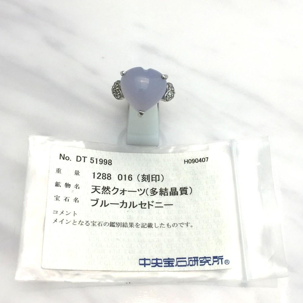 【中古美品】K18WG ブルー・カルセドニー ダイヤ ファッションリング 指輪 BK12.83ct D0.16ct 10号_画像5