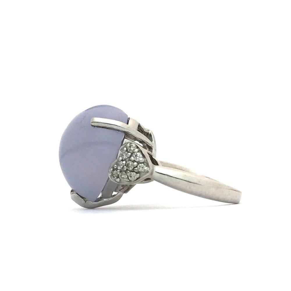 【中古美品】K18WG ブルー・カルセドニー ダイヤ ファッションリング 指輪 BK12.83ct D0.16ct 10号_画像2