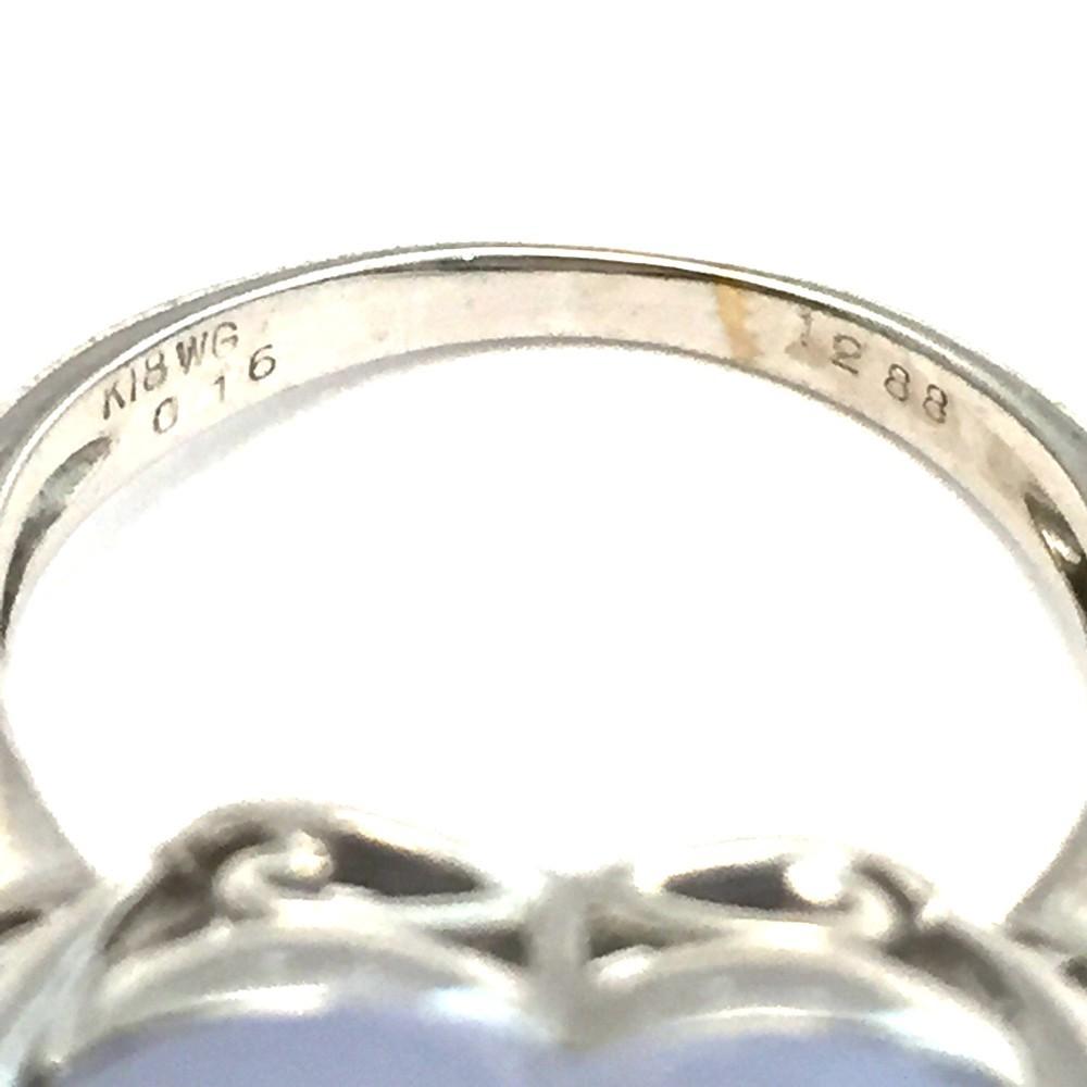 【中古美品】K18WG ブルー・カルセドニー ダイヤ ファッションリング 指輪 BK12.83ct D0.16ct 10号_画像10