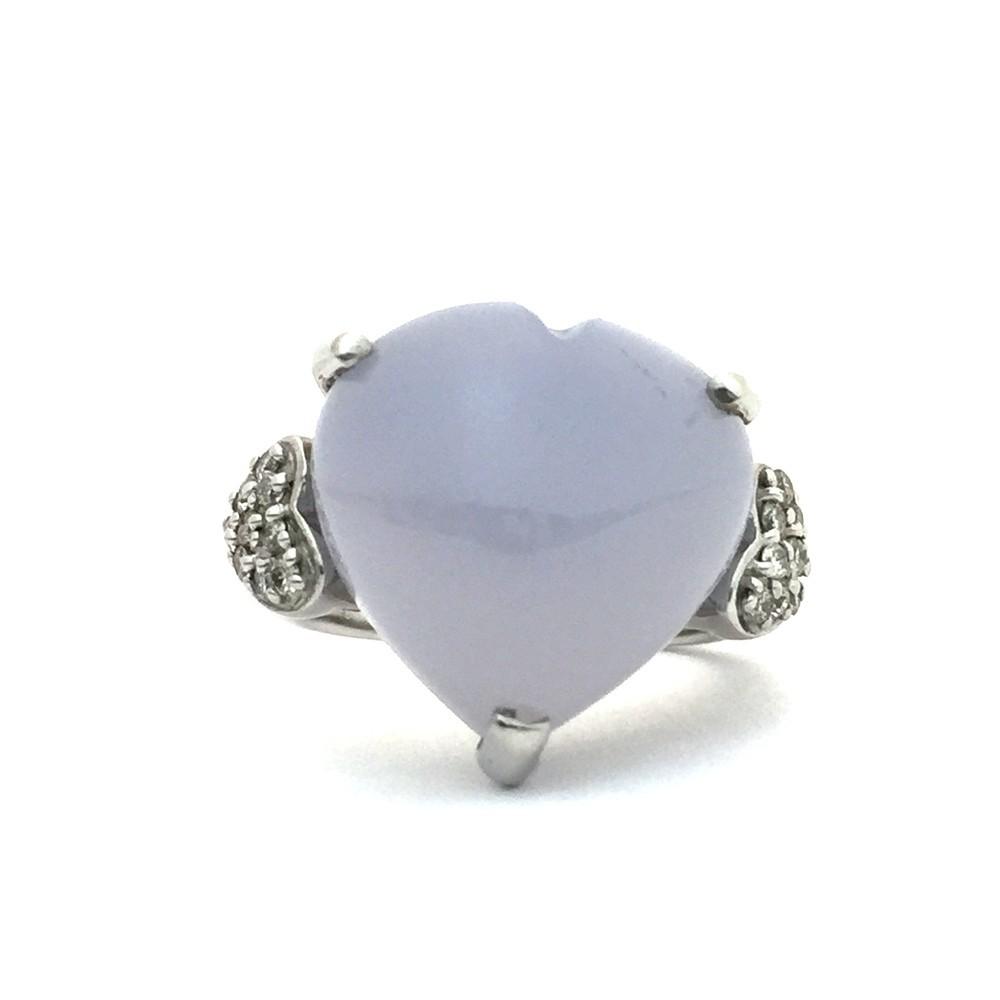 【中古美品】K18WG ブルー・カルセドニー ダイヤ ファッションリング 指輪 BK12.83ct D0.16ct 10号_画像1