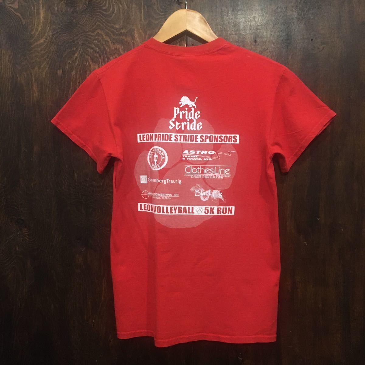 アメリカ古着 半袖Tシャツ LEON LIONS プリントTシャツ 赤 Sサイズ