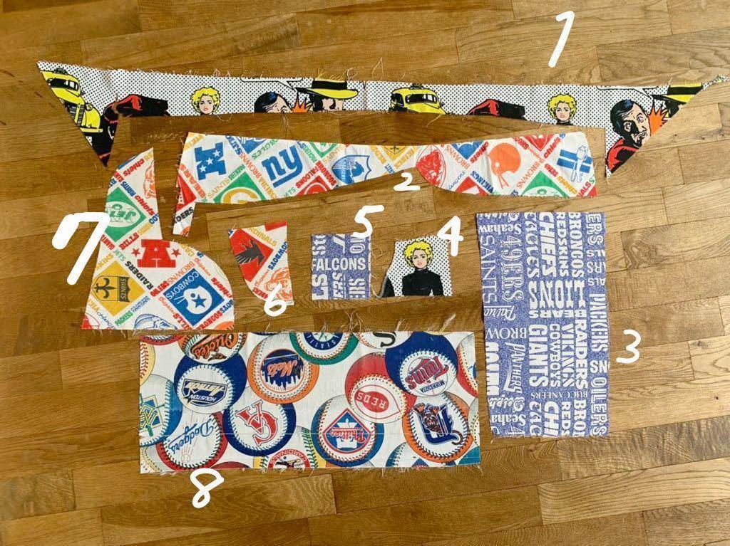 はぎれUSEDシーツセット 手作りチャーム 手芸雑貨 材料 ハンドメイド生地 激安 メジャーリーグ 男の子 スポーツ 入園入学準備 アメフト