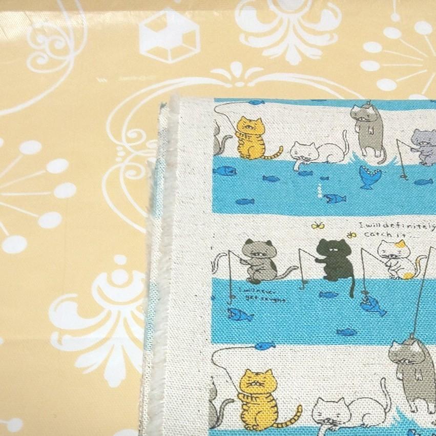 綿麻キャンバス 生地 釣り ネコ