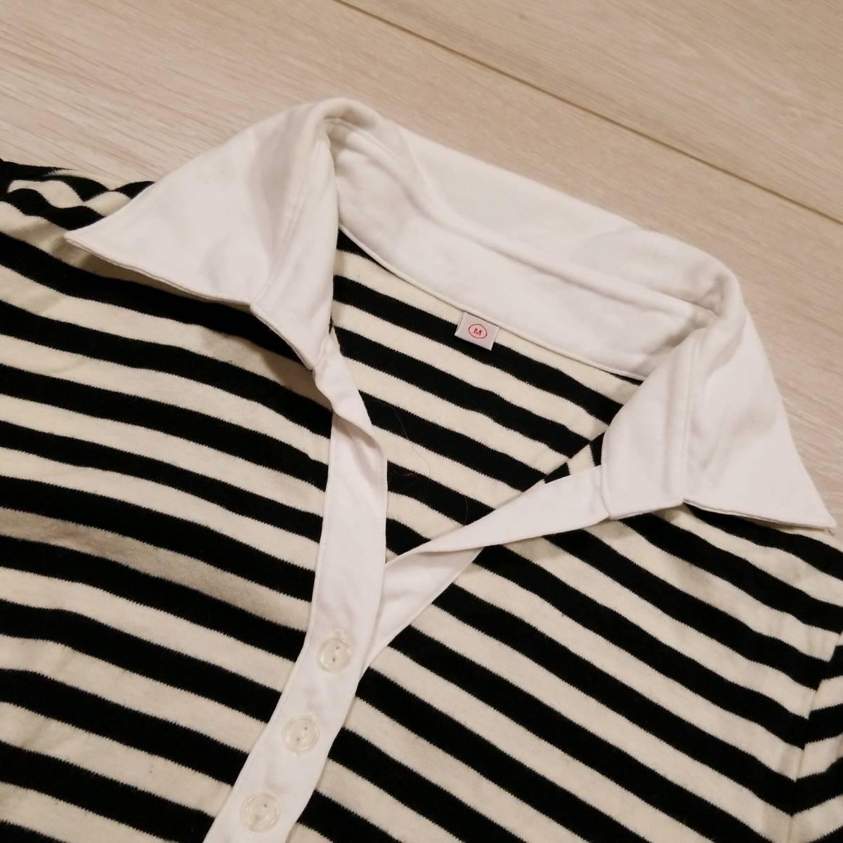 H802 UNIQLO ユニクロ Tシャツ M レディース ポロシャツ カットソー 半袖 ボーダー 黒系 ブラック系 綿100% コットン ..
