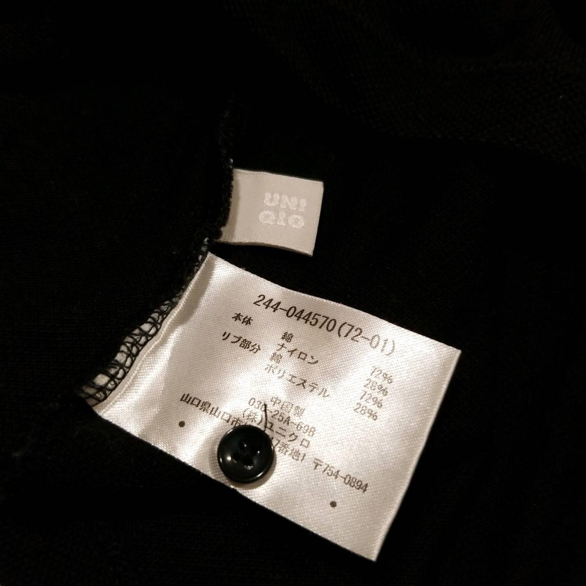 H814 UNIQLO ユニクロ Tシャツ ワンピース M レディース ポロシャツ チュニック 半袖 ショートスリーブ 黒系 ブラック系 無地 ..